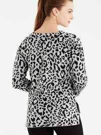 The Jones New York Grey Leopard Print V-Neck Tunic in color Grey Leopard Print - Image Position 3