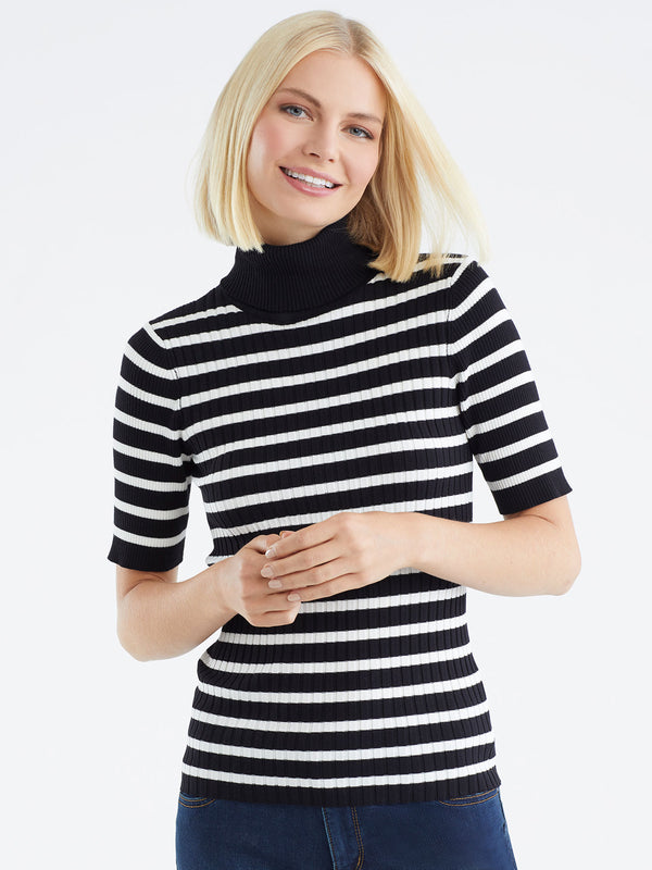 Striped Elbow Sleeve Turtleneck