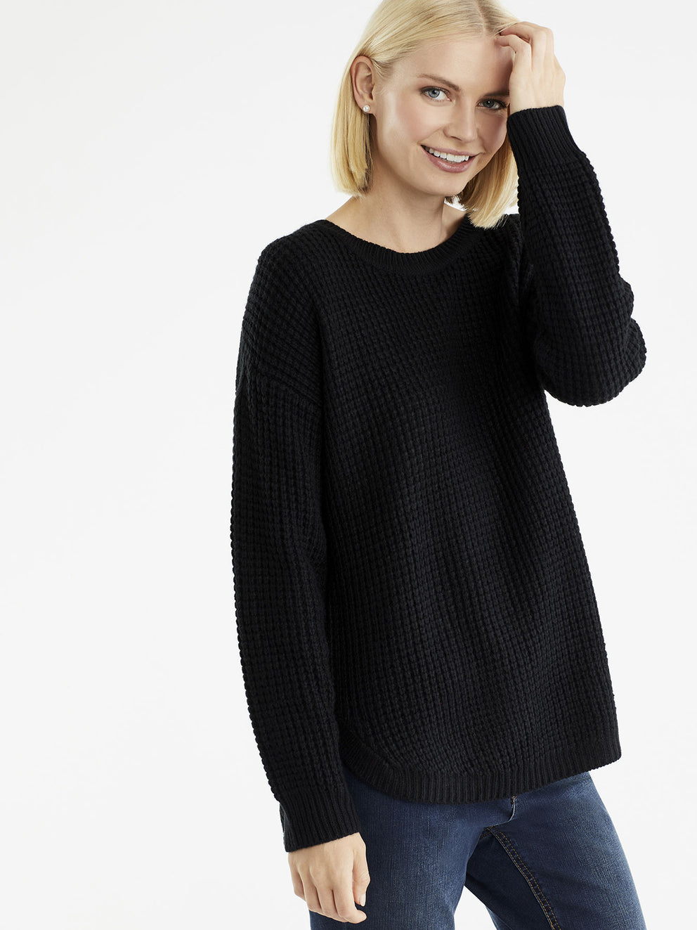 Tuck Stitch Sweater, Plus Size Color Black