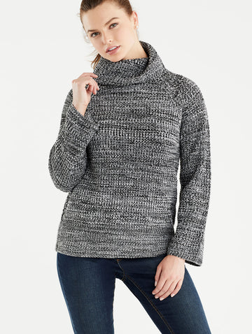 Marled Cowl Neck Pullover