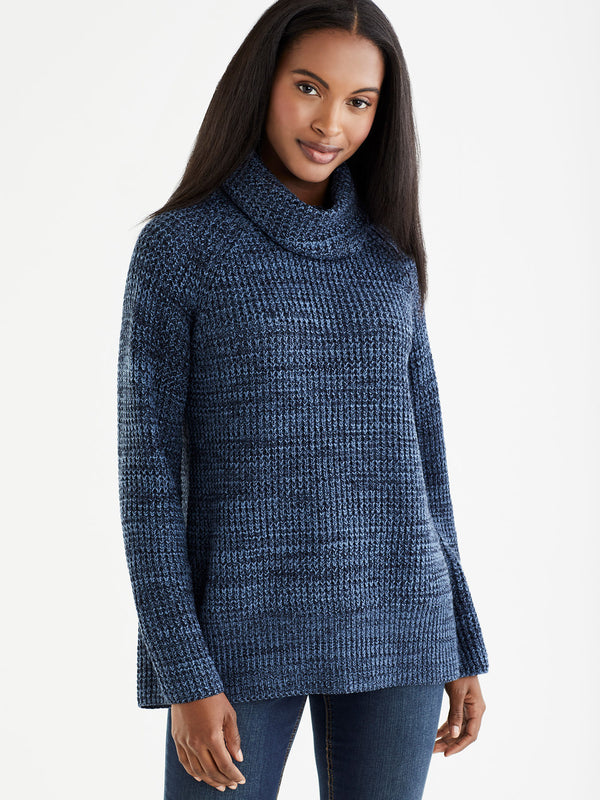 Marled Cowl Neck Pullover, Plus Size