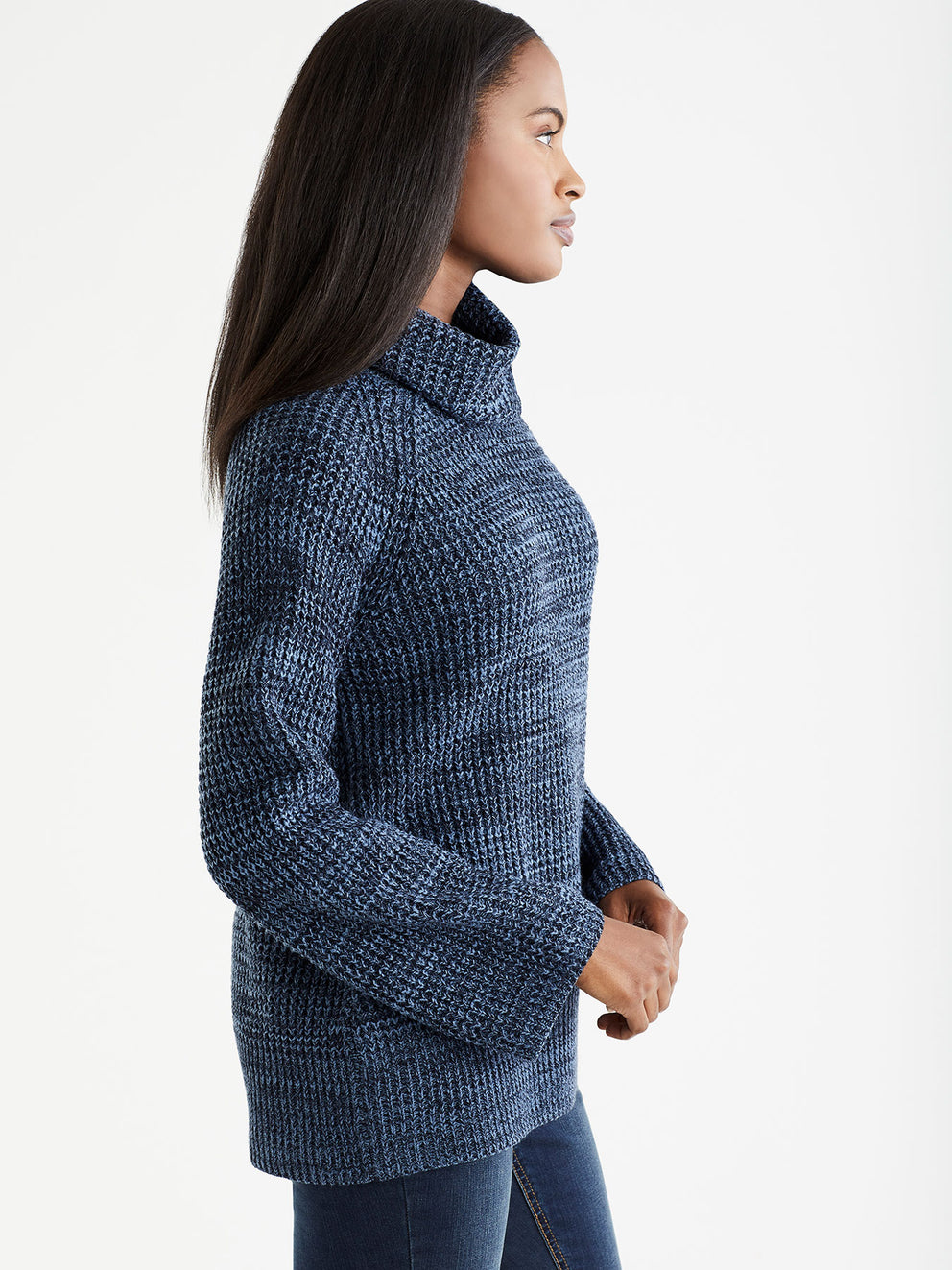Marled Cowl Neck Pullover, Plus Size Color Shadow Blue
