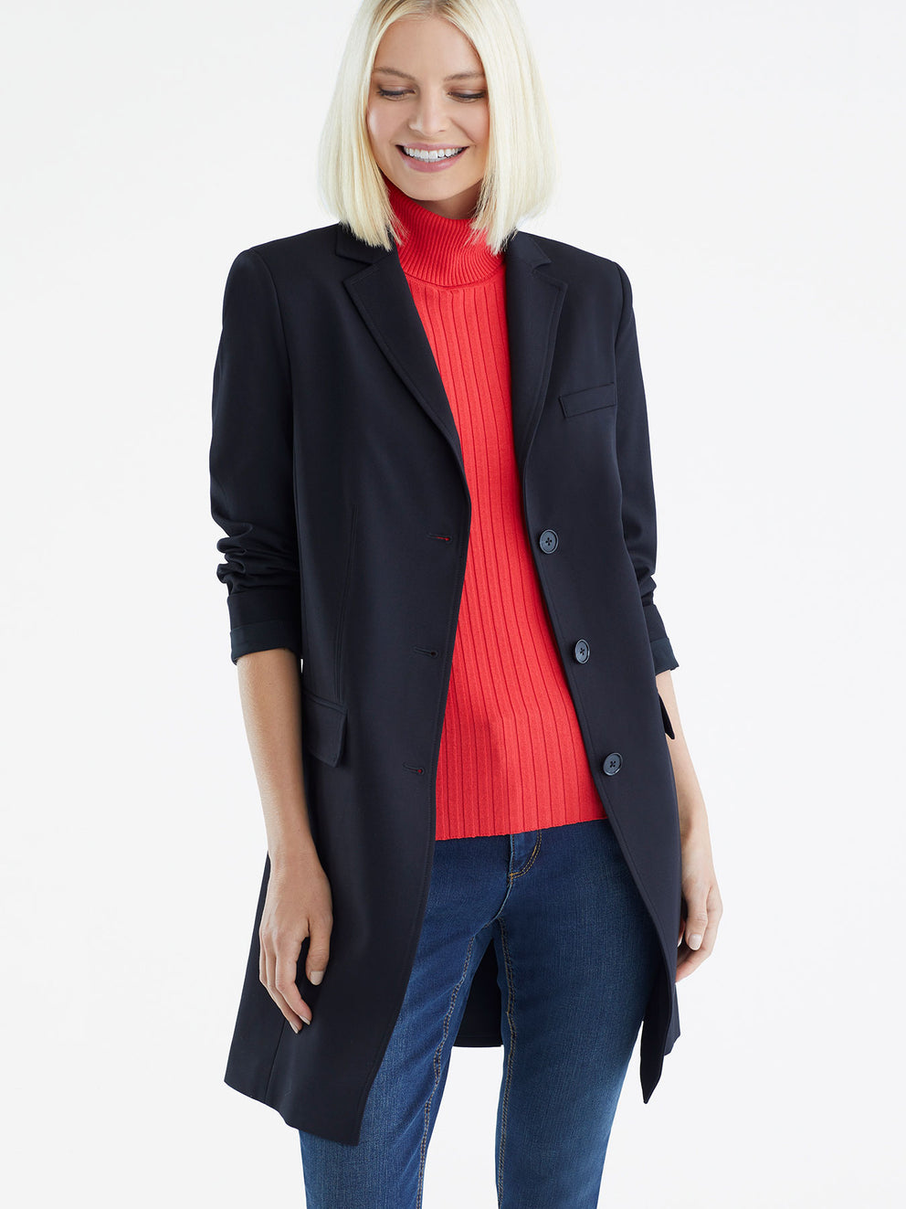 Three-Button Longline Trench Color Black
