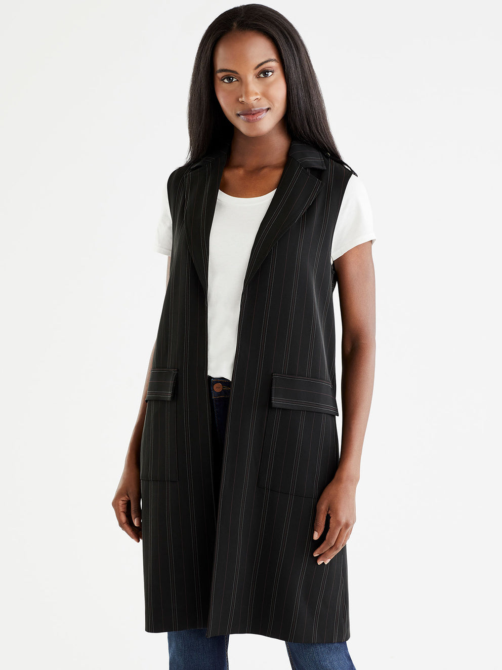 The Jones New York Pinstripe Long Vest in color Black Euro Stripe - Image Position 1