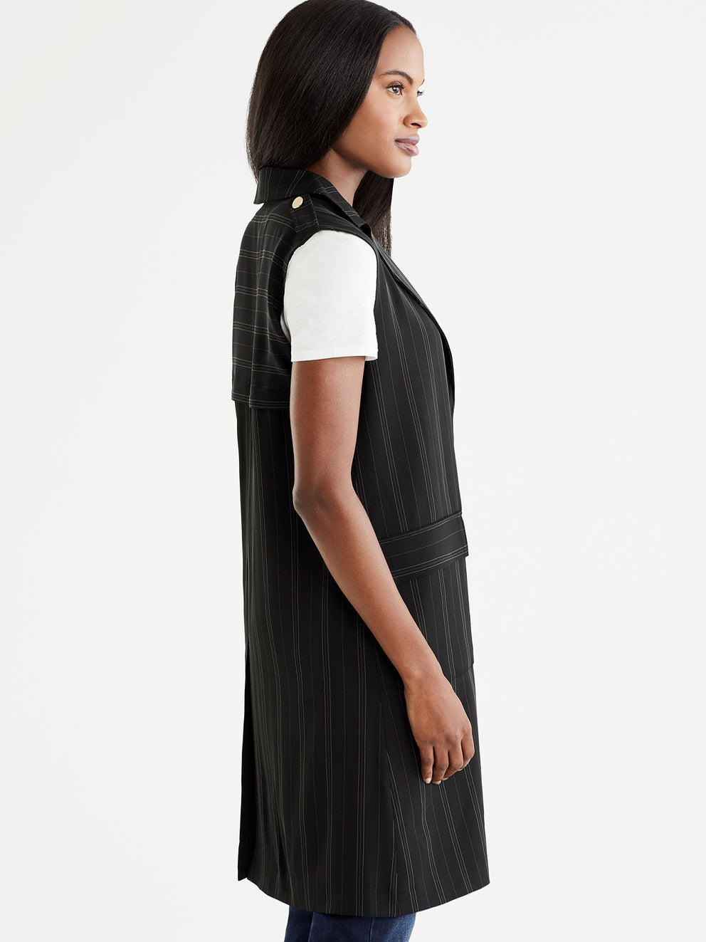 The Jones New York Pinstripe Long Vest in color Black Euro Stripe - Image Position 2