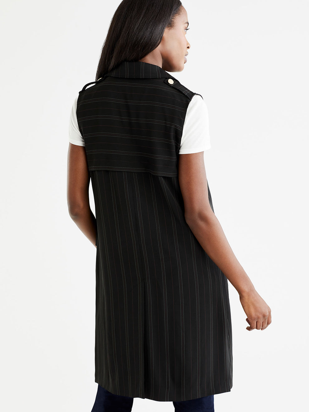 The Jones New York Pinstripe Long Vest in color Black Euro Stripe - Image Position 3