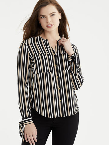 Buckle Cuff Button-Down Blouse