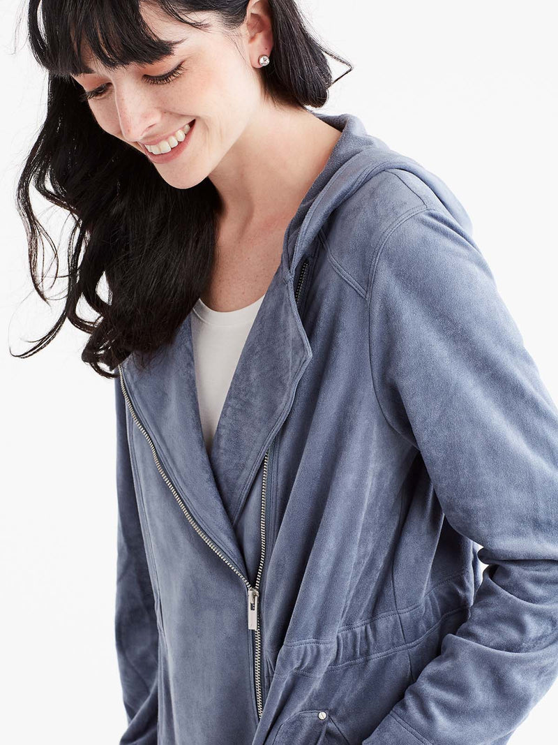 Brushed Faux Suede Zip Anorak Color Light Storm