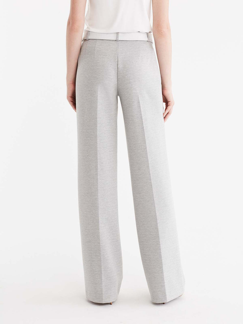 Belted Wide Leg Knit Trouser Color Silver Grey Heather