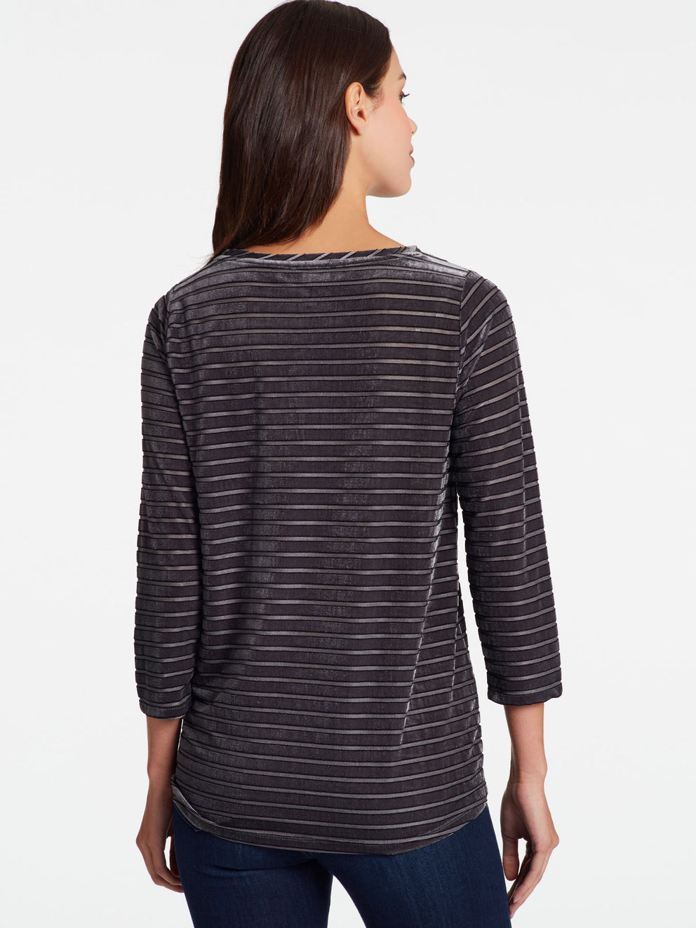 Velvet Striped Boatneck Top Color Pewter