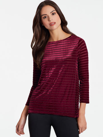 Velvet Striped Boatneck Top
