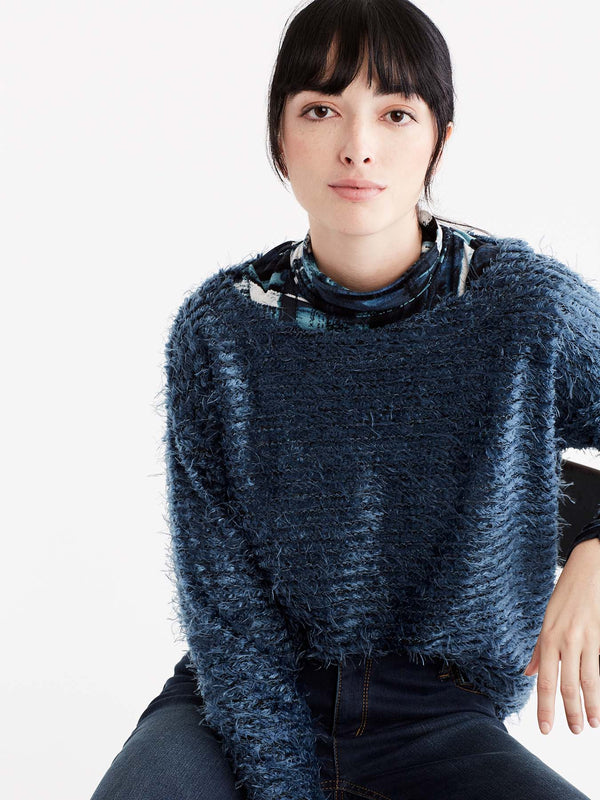 Storm High-Low Eyelash Sweater Color Blue