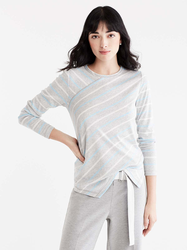 Striped Handkerchief-Hem Top Color Silver Grey Heather