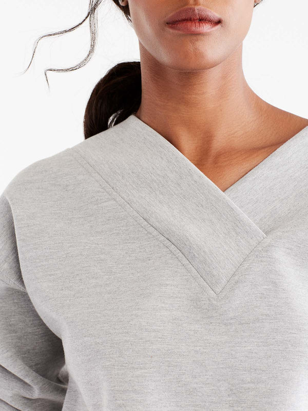 V-Neck Banded Tunic Color Silver Grey Heather