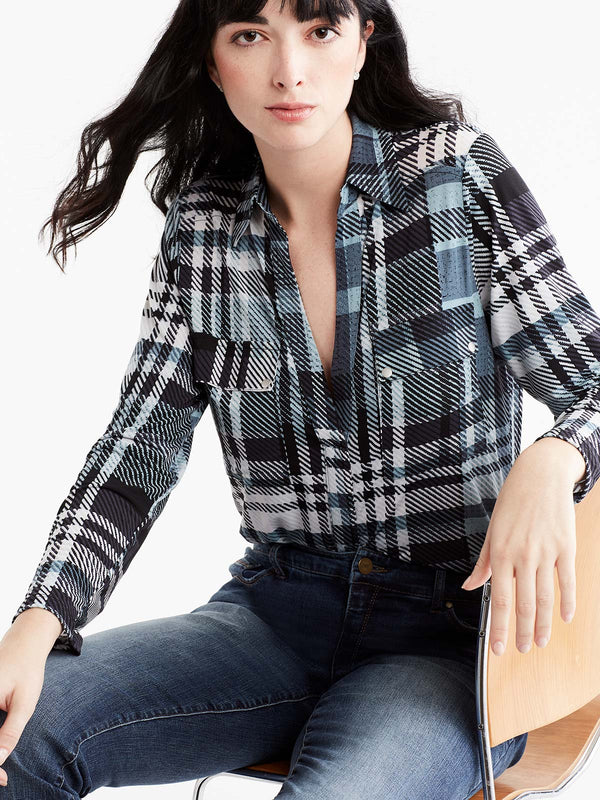 Plaid Utility Shirt Color Glacier Combo