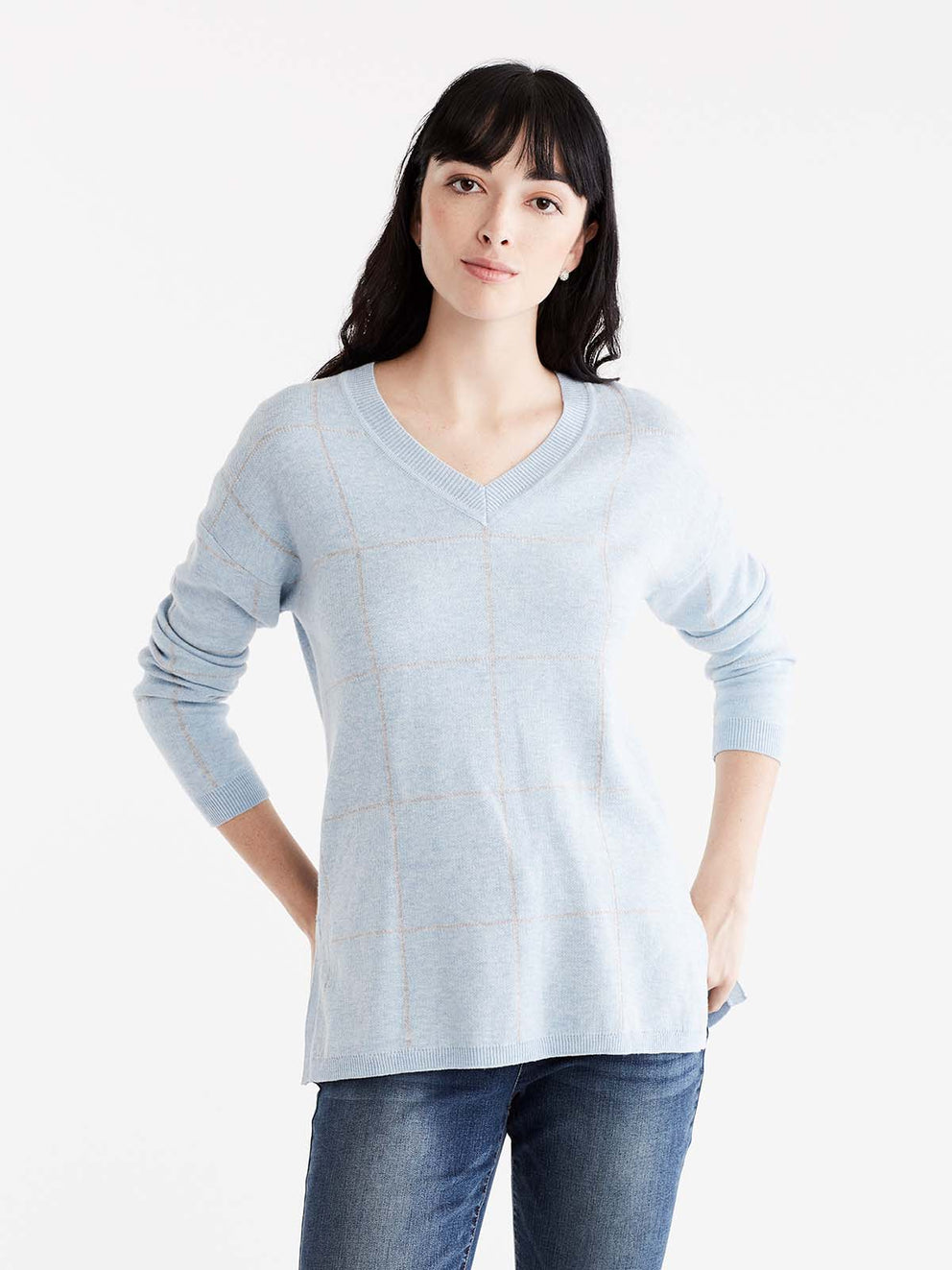 Plaid Drop Shoulder V-Neck Tunic Color Glacier