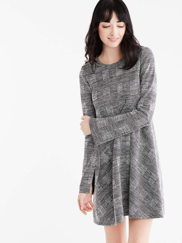 Classic Plaid Swing Dress Color Grey