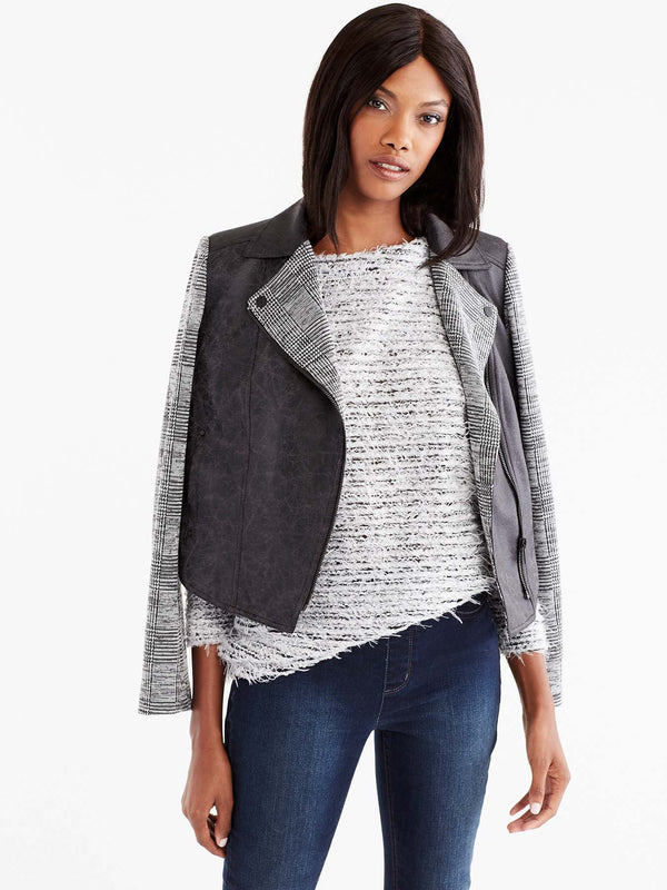 Moto Jacket with Knit Sleeves Color Black
