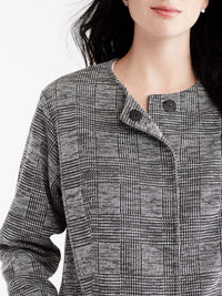Classic Plaid Doubleknit Topper Color Grey