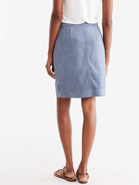 Brushed Faux Suede Pencil Skirt Color Light Storm