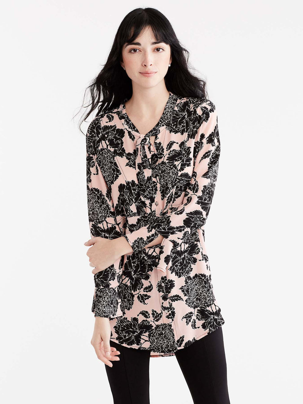 Textured Floral Shirt With Ties Color Pink