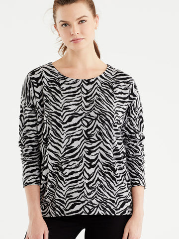 Zebra Brushed Knit Top, Plus Size