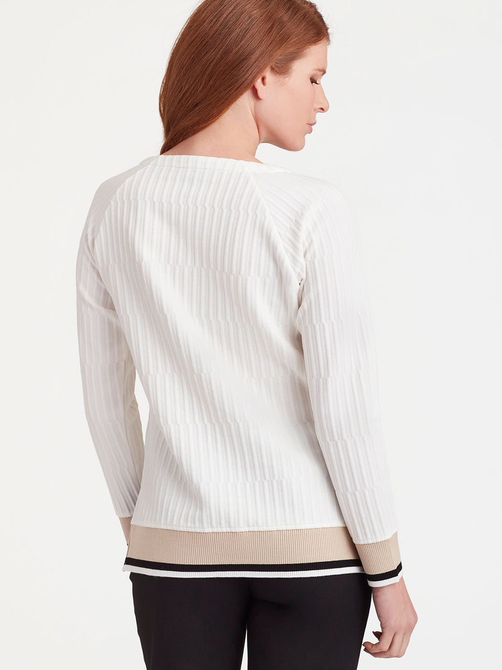 The Jones New York Textured Knit Pullover in color Ivory - Image Position 3