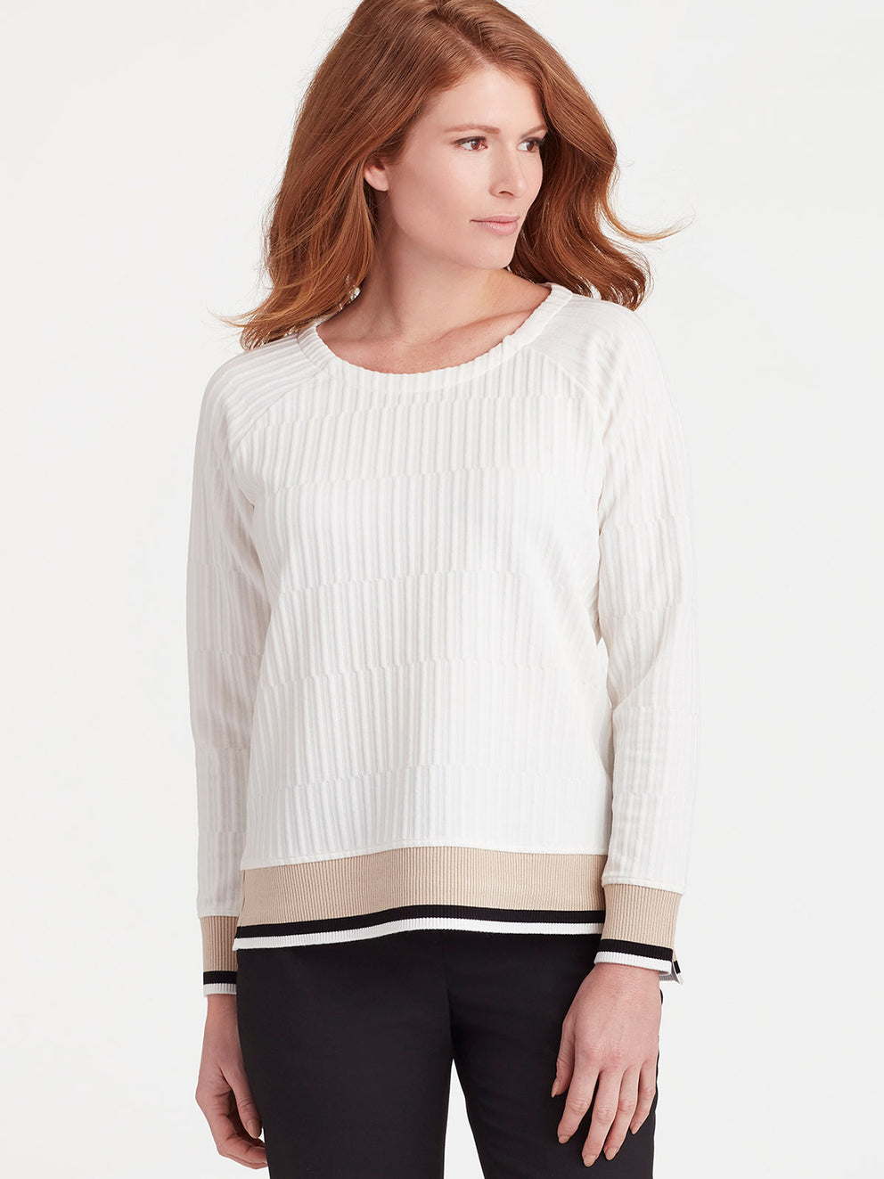 The Jones New York Textured Knit Pullover in color Ivory - Image Position 1