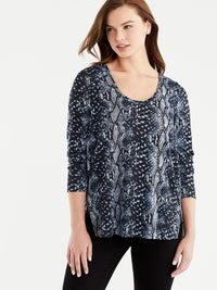 Snake Print V-Neck Tunic Color Blue Snake Print