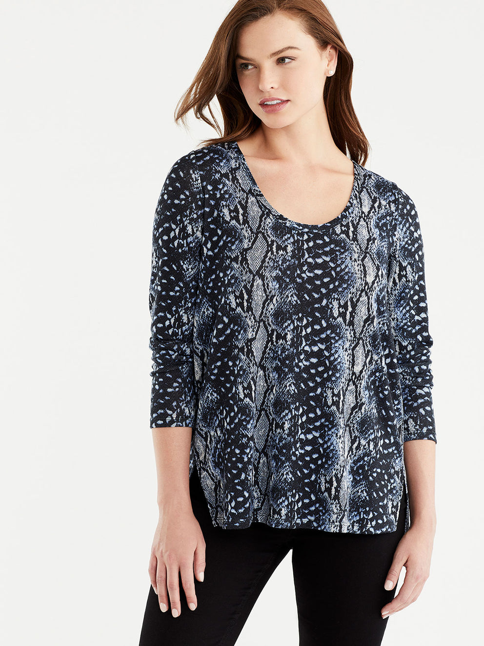 The Jones New York Snake Print V-Neck Tunic in color Blue Snake Print - Image Position 1
