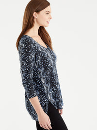 The Jones New York Snake Print V-Neck Tunic in color Blue Snake Print - Image Position 2