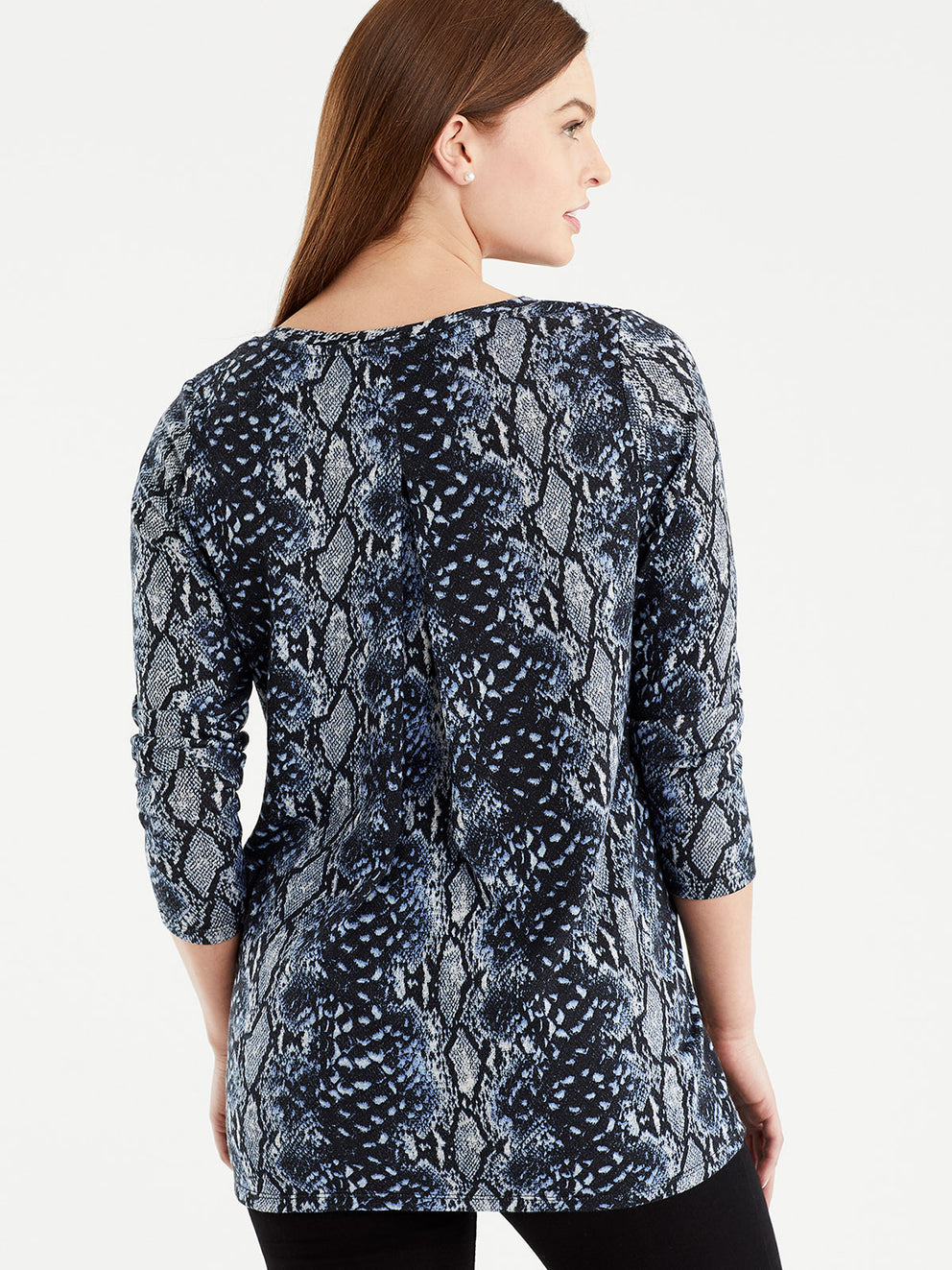 The Jones New York Snake Print V-Neck Tunic in color Blue Snake Print - Image Position 3