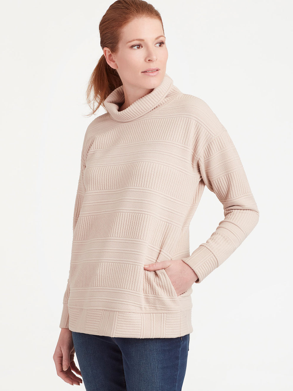 The Jones New York Quilted Turtleneck in color Pebble - Image Position 2