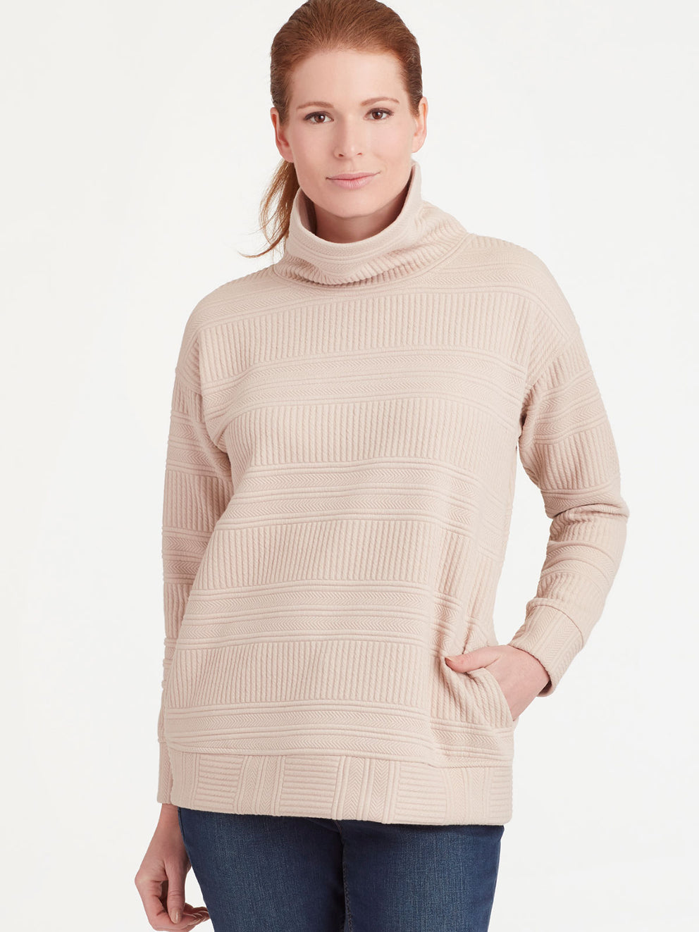 The Jones New York Quilted Turtleneck in color Pebble - Image Position 1