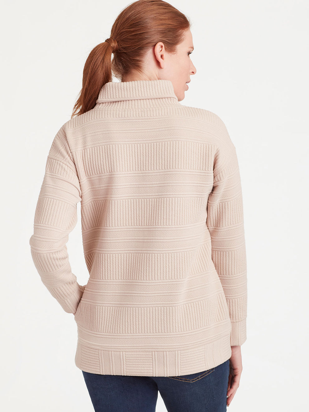 The Jones New York Quilted Turtleneck in color Pebble - Image Position 3