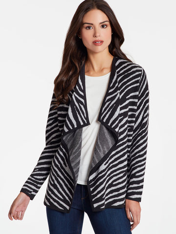 Zebra Open Front Jacket, Plus Size