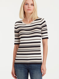 The Jones New York Striped Elbow Sleeve Top in color Pebble Stripe - Image Position 1