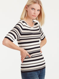 The Jones New York Striped Elbow Sleeve Top in color Pebble Stripe - Image Position 2