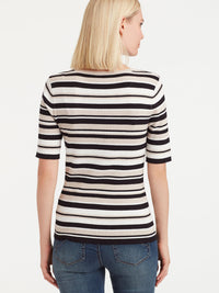 The Jones New York Striped Elbow Sleeve Top in color Pebble Stripe - Image Position 3