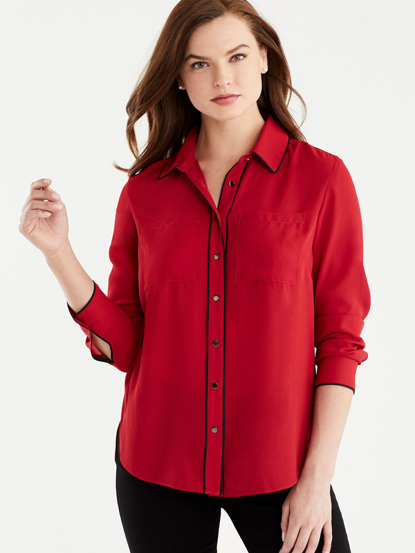 Piped Button-Down, Plus Size