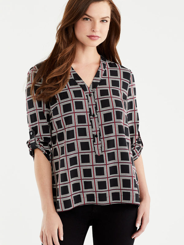 Geo Print Popover Top, Plus Size