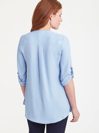 The Jones New York Classic Tab Sleeve Top in color Light Wedgewood - Image Position 3