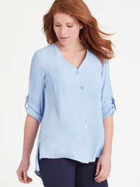 The Jones New York Classic Tab Sleeve Top in color Light Wedgewood - Image Position 1
