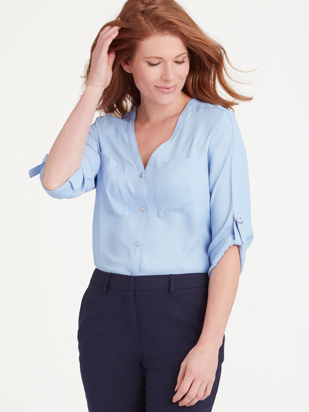 The Jones New York Classic Tab Sleeve Top in color Light Wedgewood - Image Position 2