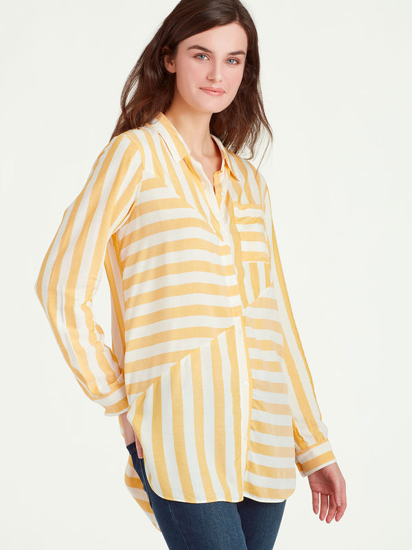 Stripe Play Button-Down Top