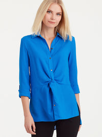 The Jones New York Twist Front Shirt in color Bright Sapphire - Image Position 1