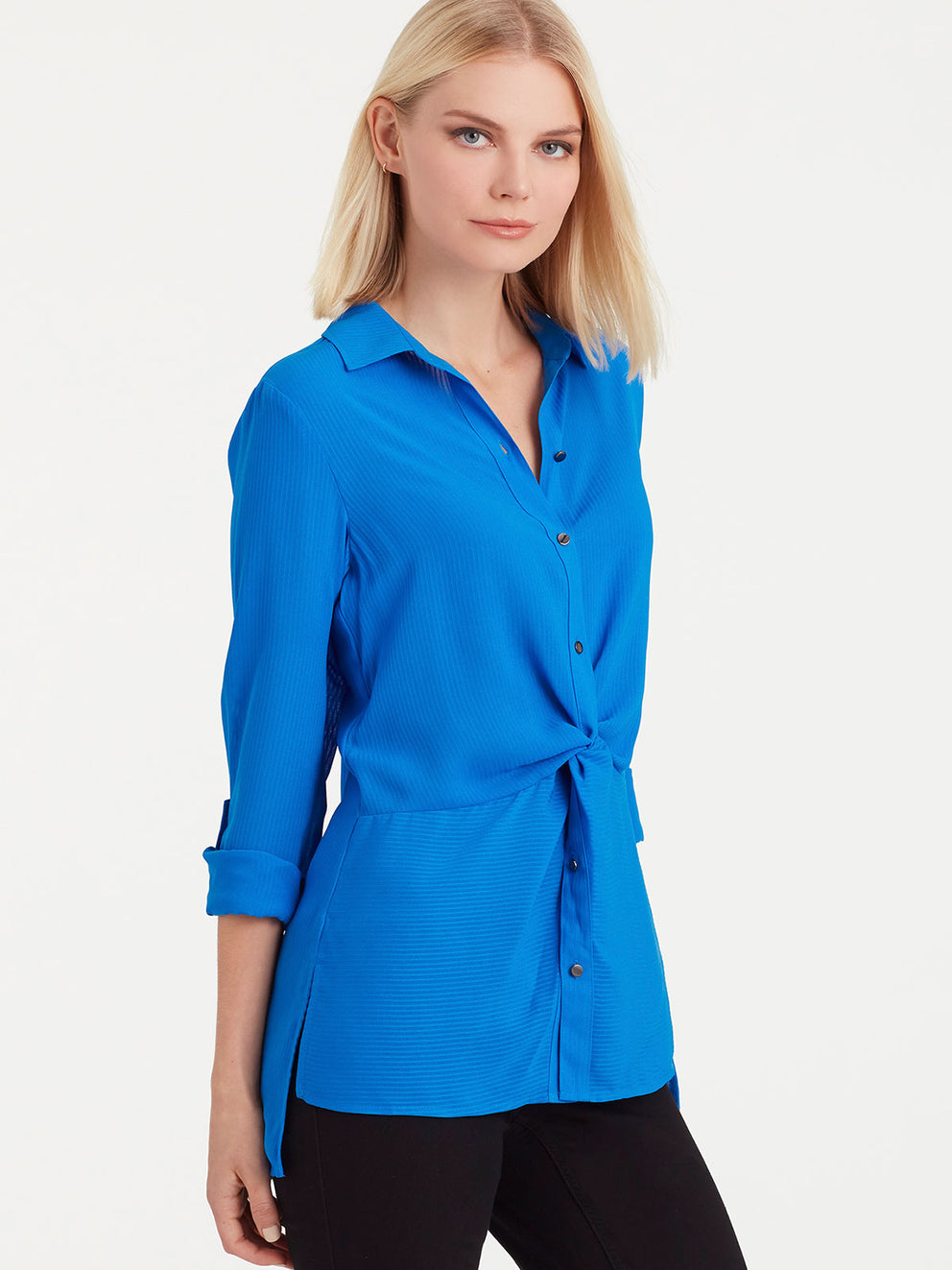 The Jones New York Twist Front Shirt in color Bright Sapphire - Image Position 2