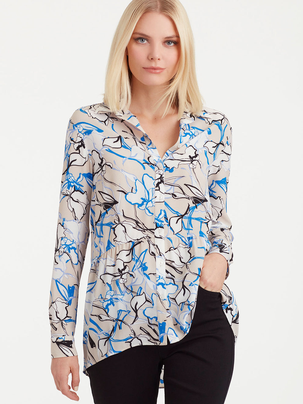 The Jones New York Button-Down Peplum Top in color Sapphire Floral - Image Position 1