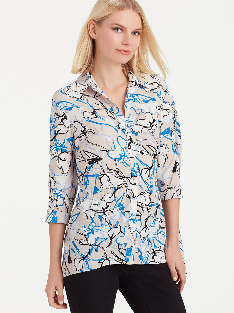 The Jones New York Button-Down Peplum Top in color Sapphire Floral - Image Position 2