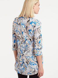 The Jones New York Button-Down Peplum Top in color Sapphire Floral - Image Position 3